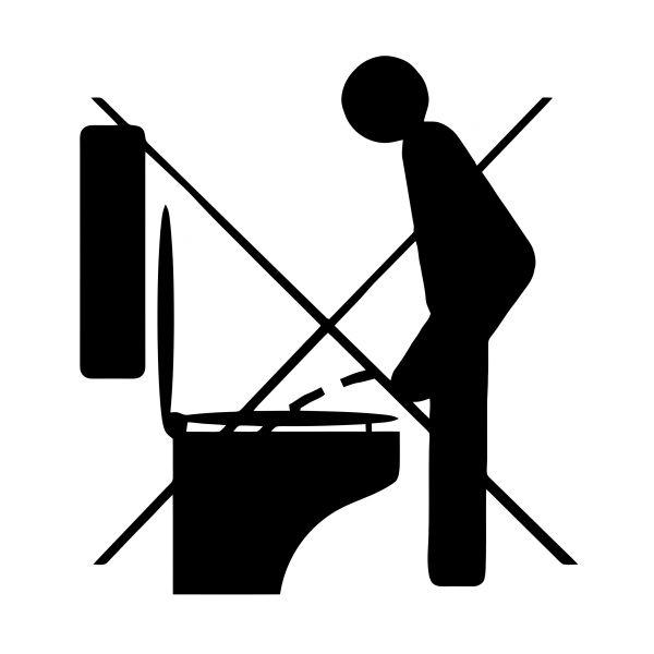 """WC Toilette """"Bitte Hinsetzen"""" Piktogramm 12 x 12 cm"""